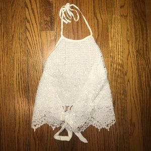 Tops - White Lace Tie Back Top